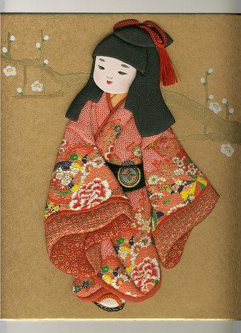 今月の押絵 二月「 梅と童女 」