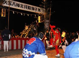 三社祭り 久玉八幡宮の拝殿獅子舞