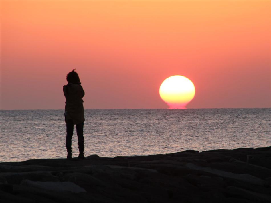 ★IMG_5363白鶴浜突堤から夕陽を眺める人