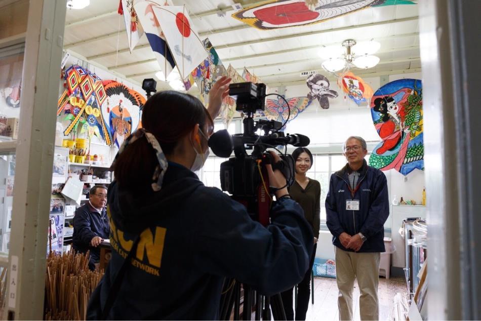 天草文化交流館で「角凧」作りを体験