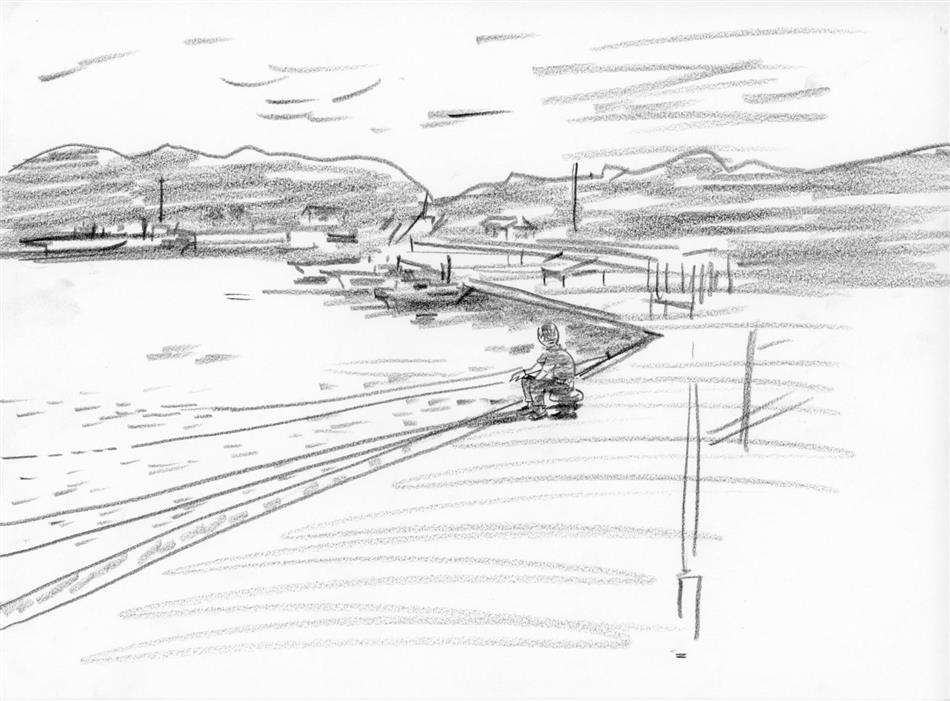 69位⑪ どこかの港で釣りをするおじさん