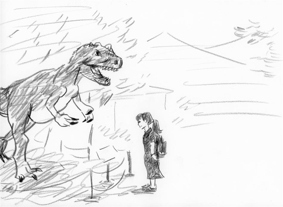 15位① 恐竜を見る飽田ちゃん