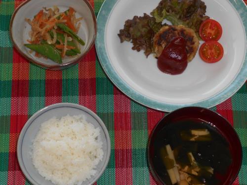 ,メニュー組合わせレシピ(キャベツのハンバーグ、ごま和え、若竹汁
