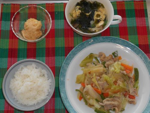 豚肉とキャベツの梅ごまみそ、春雨スープ、じゃが芋団子